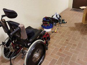 repairing a paediatric mobility equipment